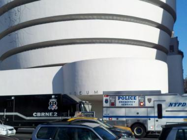 Police investigated a suspicious package that turned out to be harmless white powder at the Guggenheim Museum on Fifth Avenue Tues., March 6, 2012.