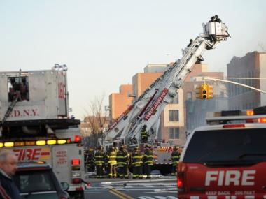 Firefighters were battling a blaze at 1717 West 6th Street in Brooklyn on March 7, 2012.