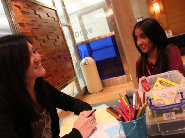 Helen Kim takes Victoria Biazzo through a life-coaching session. Recently Victoria has been working to resolve a minor conflict with some peers at school.