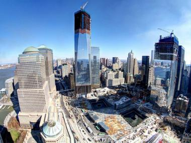 The World Trade Center site shown at the end of February 2012. Work on Tower 4, right, has slowed following a crane accident.