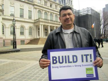 Local 79 Construction and General Building Laborers member Jose Chicas said he backed NYU's plan because construction workers need the boost it would provide.