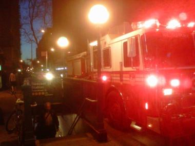 Fire trucks arrive at the Bleecker Street 6 train station on March 14, 2012 after a person was struck by a train there.