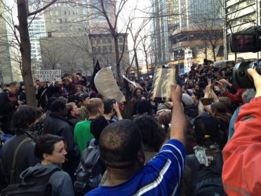 Hundreds of protesters gathered in Zuccotti Park to mark the Occupy Wall Street movement's six-month anniversary on Sat., March 17, 2012.