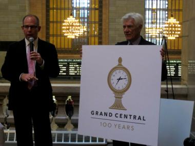 To commemorate the centennial, officials commissioned a logo that features a likeness of the iconic clock that stands atop the information desk at the center of Grand Central Terminal.