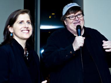 Upper West Side City Council candidate Helen Rosenthal with filmmaker Michael Moore at Rosenthal's campaign kick-off event in March 2012.