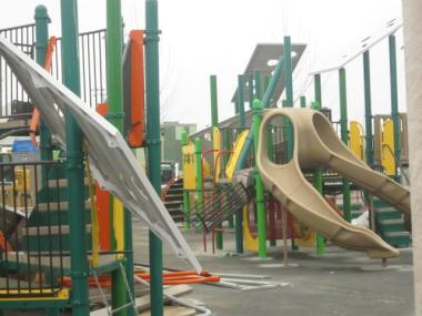 A playground on Beach 29th Street in Far Rockaway was destroyed by a vandal early Tues., March 20, 2012.