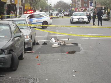 A cyclist was badly hurt in an accident at 18th Avenue and 73rd Street March 21, 2012.