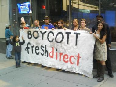 Members of South Bronx United headed to 72nd Street and Broadway in Manhattan on March 21, 2012 to ask residents to boycott FreshDirect.