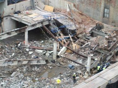 A building owned by Columbia University collapsed on West 130th Street in Harlem Thurs., March 22, 2012.