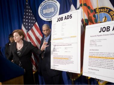 City Council Speaker Christine Quinn wants to ban employers from considering job-seekers' employment status.