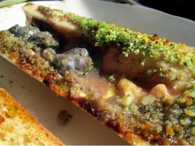 Escargot and bone marrow, with shallots and red wine puree at M. Wells Diner.