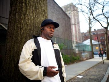 Curtis Kirby, 50, whose son, Sakim, 30, was injured in the building collapse in Harlem on March 22, 2012.