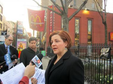 City Council Speaker Christine Quinn held a press conference outside a Greenwich Village McDonald's March 26, 2012 asking for people to boycott the restaurant until it brings its security under control.