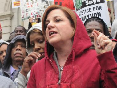 City Council Speaker Christine Quinn gave a passionate speech condemning Martin's death.