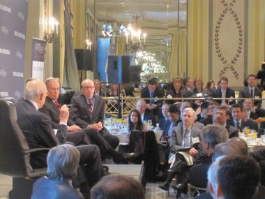 Mayor Michael Bloomberg was joined by Alan Simpson and Erskine Bowles on a panel Thursday morning.
