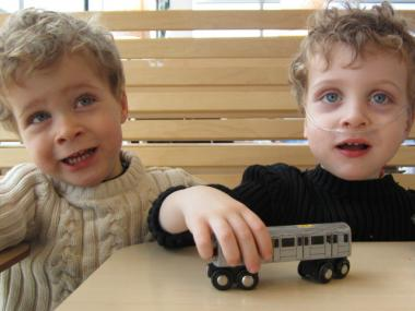 Colin, right, is autistic, but his fraternal twin brother Martin is not.