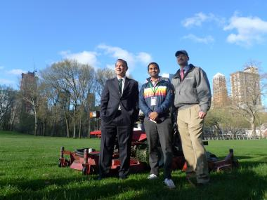"Parks Commissioner Adrian Benepe, comedian and ""Parks and Recreation"" actor Aziz Ansari, and Central Park Conservancy President Doug Blonsky kicked off spring at the Sheep Meadow on April 2, 2012."