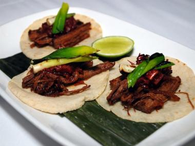 Non-kosher pulled beef brisket tacos are on Rosa Mexicano's Passover menu.