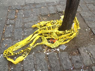 Police tape coiled around a tree outside a crime scene.