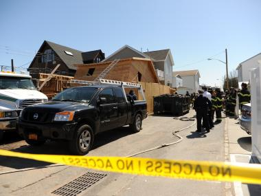 A house under construction at 40 Frank Court collapsed onto two workers on April 3, 2012.