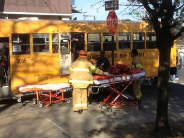 Twelve people were injured in a school bus crash in Maspeth, Queens, on April 4, 2012.