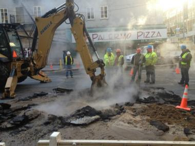 A water main burst on West Broadway in lower Manhattan on Thurs., April 5, 2012.