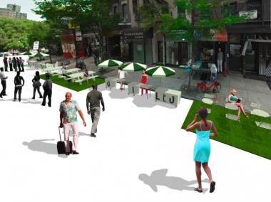 An artist generated image of the Lower East Side BID's proposed events to bring commerce back to Orchard Street.