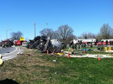 A 12,000 gallon gas tanker overturned in the Bronx on April 7, 2012.