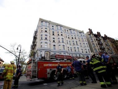 A fire injured an infant on West 149th Street on Monday April 9, 2012.