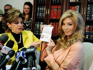 Attorney Gloria Allred with former Miss Universe contestant Jenna Talackova, who was disqualified from the competition several weeks ago because she was not a