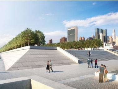 A rendering of Franklin Roosevelt Four Freedoms Park.