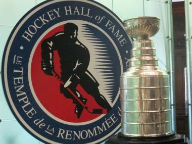 The Stanley Cup on display at the Hockey Hall Of Fame in Toronto.