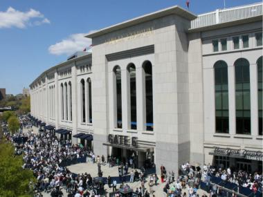 Thousands of fans streamed into Yankee Stadium for the 1:05 p.m. home opener against the Los Angeles Angels.