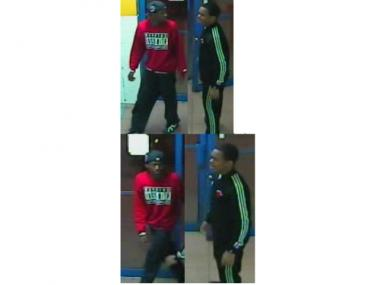 Police are searching for two suspects wanted for a laundromat robbery on April 11, 2012.