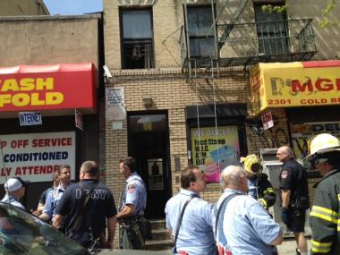 Firefighters extinguished a rubbish fire in the first-floor lobby of 2301 First Ave. in Harlem Sat., April 14, 2012.
