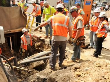 A worker seriously injured his legs and back in the accident on April 16, 2012, FDNY officials said.