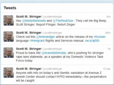 Manhattan Borough President Scott Stringer offered his own rap to counter rival Marty's.