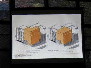 A rendering of a modified version of Chelsea Market's expansion on Ninth Avenue, with the nine-story hotel on the left and the seven-story alternative office building on the right.