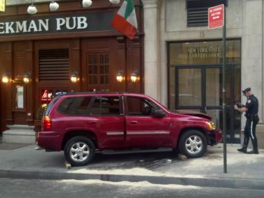 The SUV that hit Michael Rogalle in front of 15 Beekman St. on April 17, 2012.