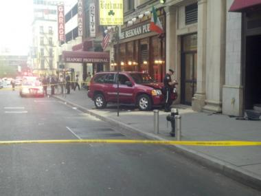 A UPS worker was critically injured after being hit in front of 15 Beekman St. on April 17.