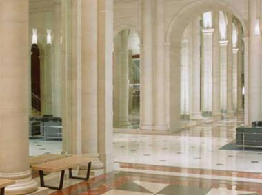 The marble lobby of Le Parker Meridien Hotel, New York.