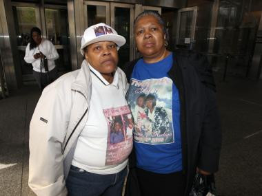 Florence Matthews (left), Shakeema Elliot's godmother, and Delores Smith-Johnson, Elliot's aunt, donned t-shirts with images of Elliot and her 8-year-old daughter Kayla Williams, who were killed in 2010. The man who strangled them, Amahal Lynch, was sentenced 40 years to life in prison Wednesday.