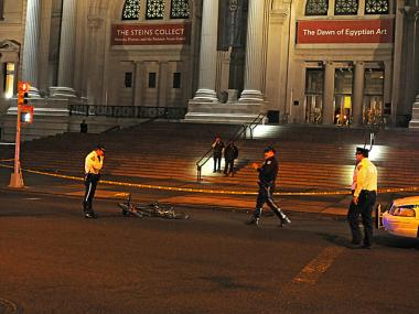A person was struck and killed by a truck on Fifth Avenue near East 82nd Street on Wednesday, April 18, 2012.