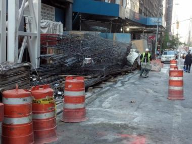 Debris fell from scaffolding at 157 W. 57th St. on April 19, 2012.