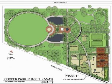 Barbecue grills and a volleyball are the first part of the park's renovation, which will include the relocation of the dog run.