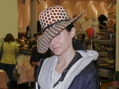 Rebecca K. in a stylishly dotted Frank Olive Hat from Hollywood and Vine.