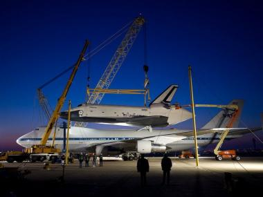 The space shuttle Enterprise is placed upon the special NASA 747 Shuttle Carrier Aircraft at Washington Dulles International Airport on April 20, 2012.