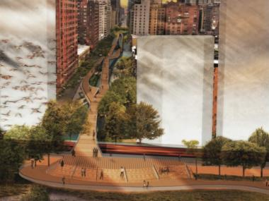 First prize winner Joseph Wood, who is studying architecture at Syracuse, brought the waterfront into Manhattan's grid.