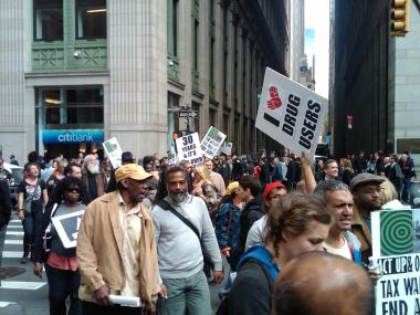 Hundreds of Occupy Wall Street protesters gathered for a demonstration on Tues., April 25, 2012.