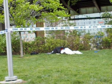 A man was discovered dead in the park at West 59th Street Friday morning, April 27, 2012.